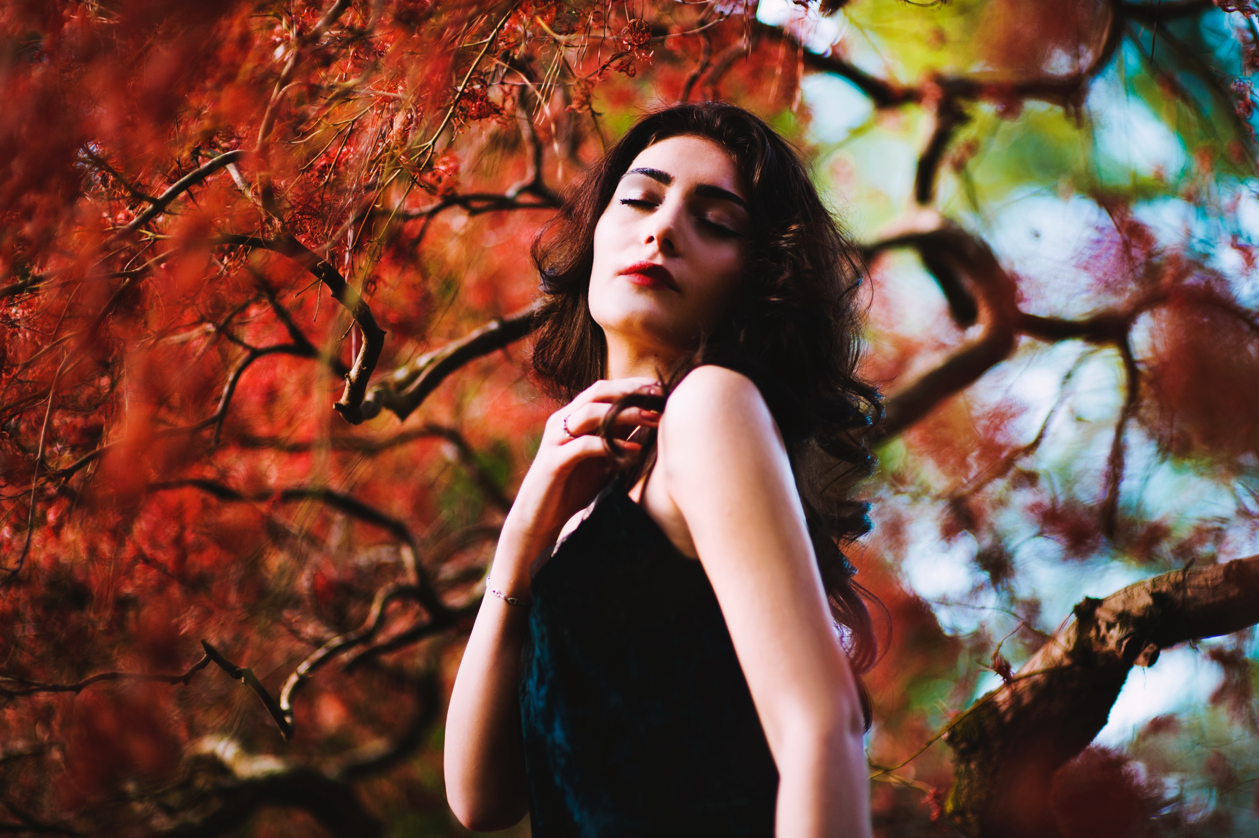 Woman in Autumnal scene
