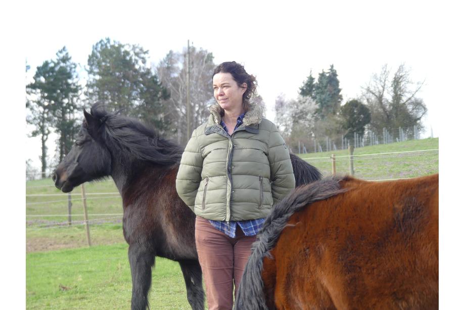Frau mit schwarzem und brauen Pferd