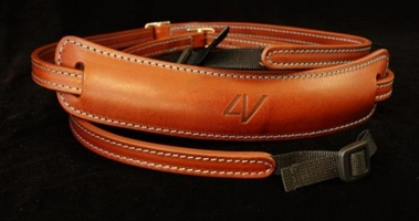 Medium Lusso Neck Strap Brown-Cyan