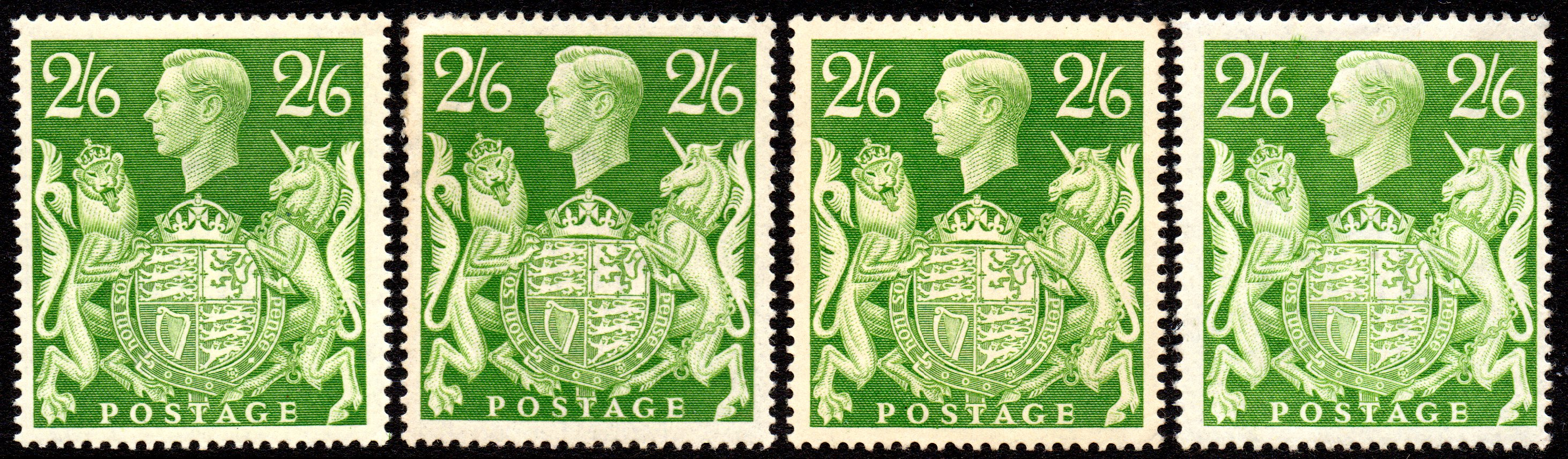 1942 2s6d Yellow-green Mint