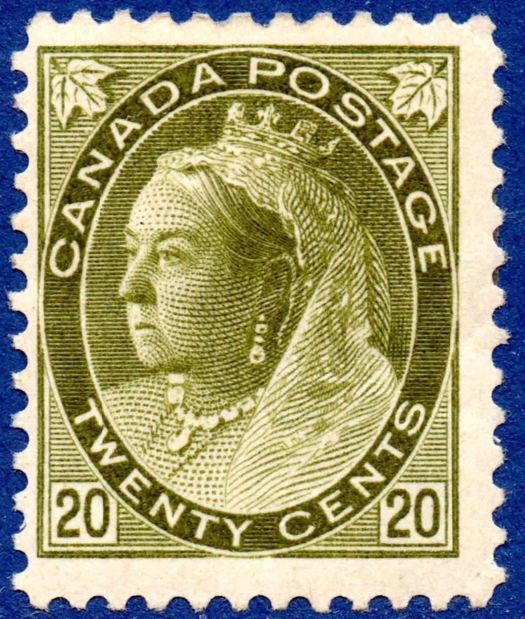 CANADA 1898 20c Olive Green Fine & Fresh Mounted Mint SG 165 Cat £300 -Scott #84