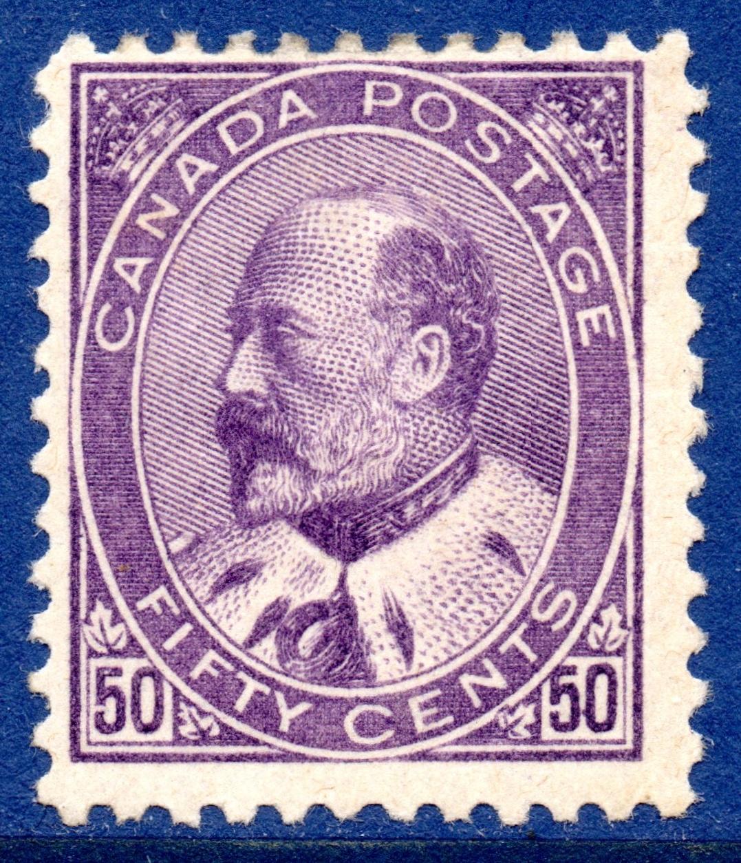 1903 Canada 50c Deep Violet Fine & Fresh Mounted Mint SG187 cat £450 - Scott #95