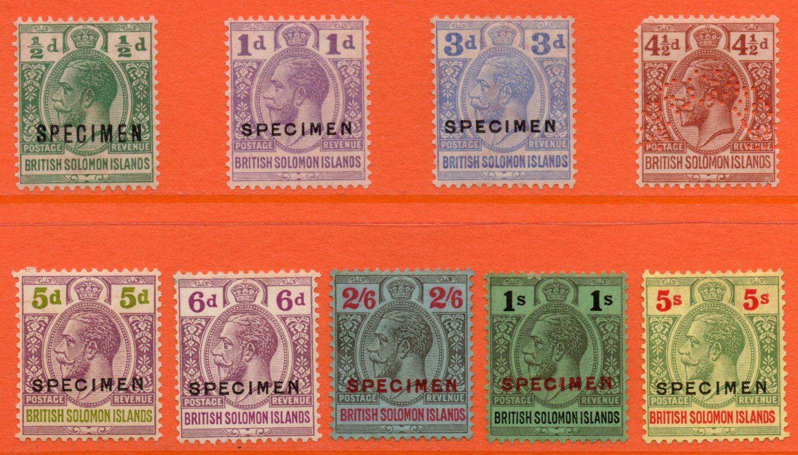 British Solomon Islands GV 1914-31 SPECIMENS ½d - 5s (Nine Values)