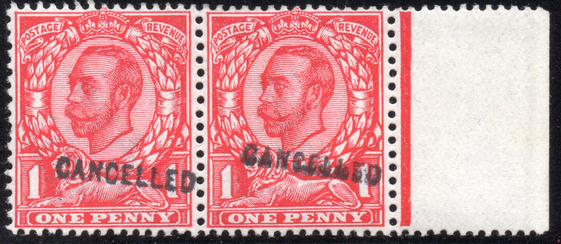 1912 1d Scarlet Marginal Pair CANCELLED Type 24
