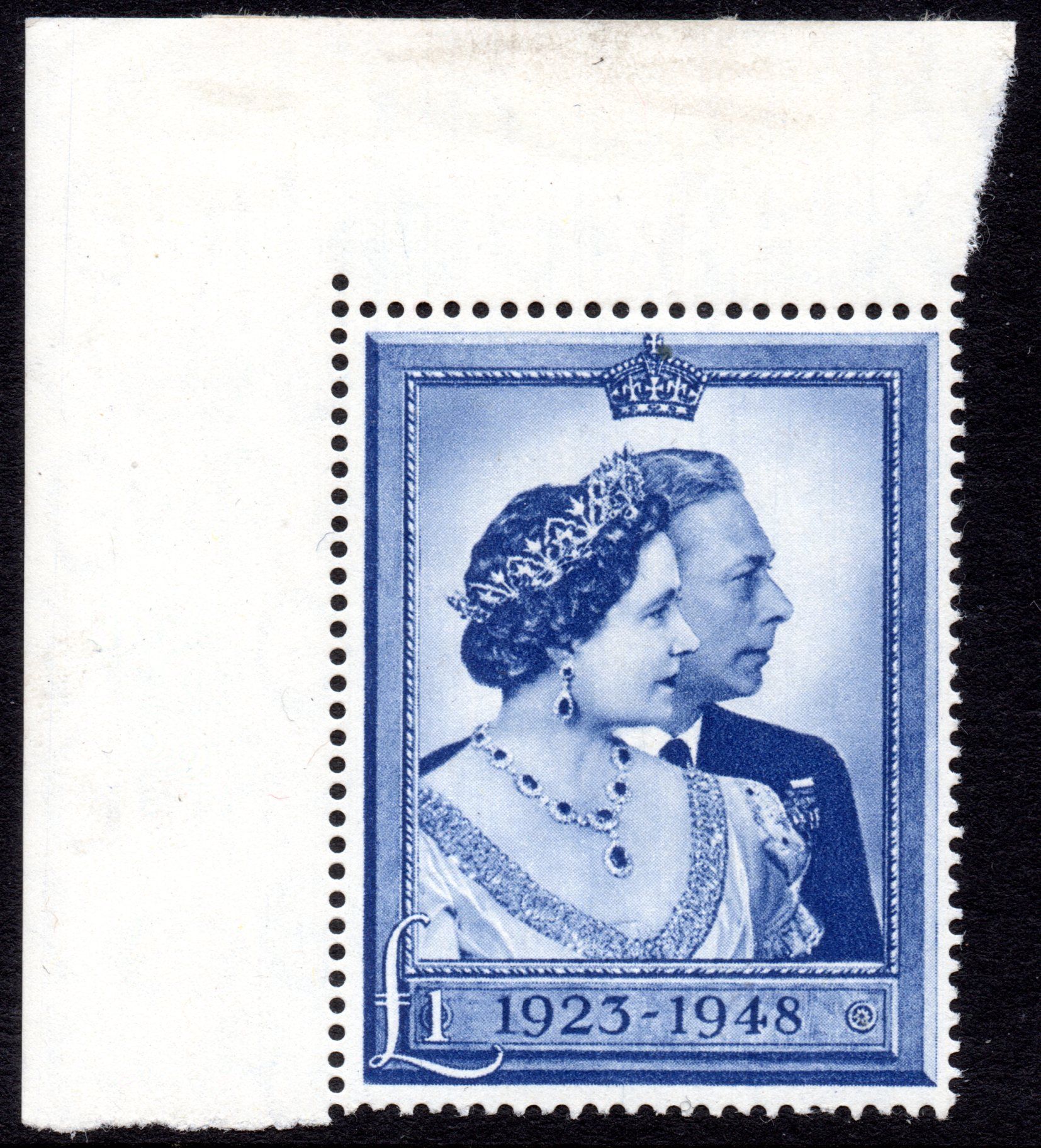 1948 £1 SILVER WEDDING UMM CORNER MARGINAL