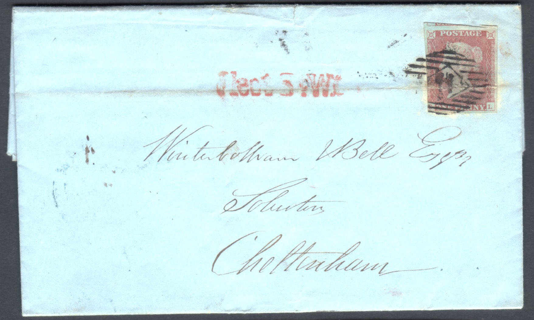 1841 1d Red Imperf Cover Red Fleet St Straight-line