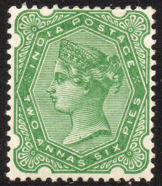 India 1892 2a6p Yellow-green Lightly Mounted Mint