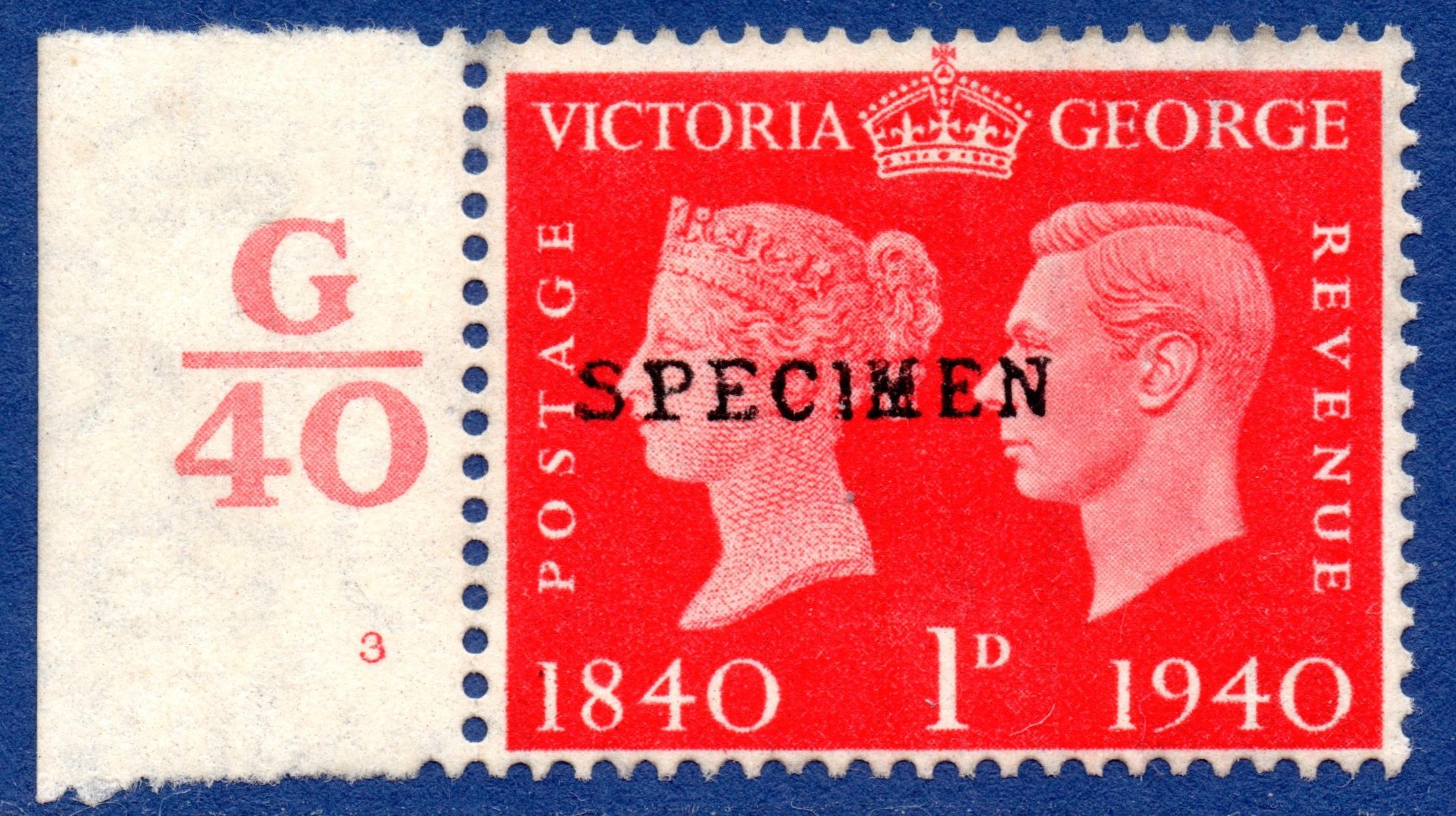 1940 1d Scarlet SPECIMEN Type 9 Control Single