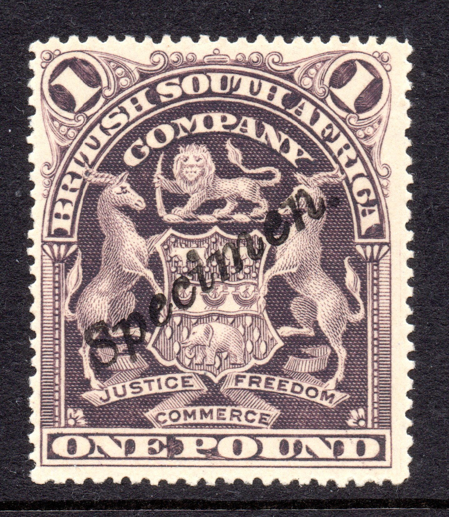 British South Africa Company 1901 £1 Greyish Red-purple SPECIMEN - SUPERB QUALITY STAMP