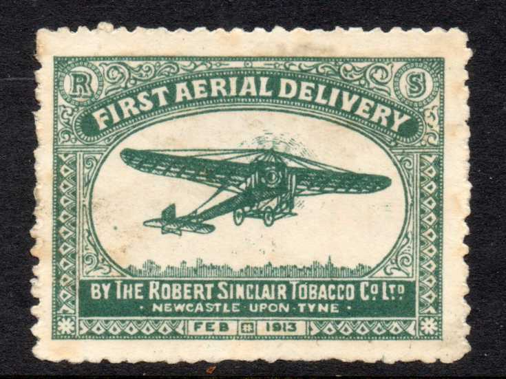 1913 FIRST AERIAL DELIVERY STAMP BY ROBERT SINCLAIR TOBACCO - SOLD