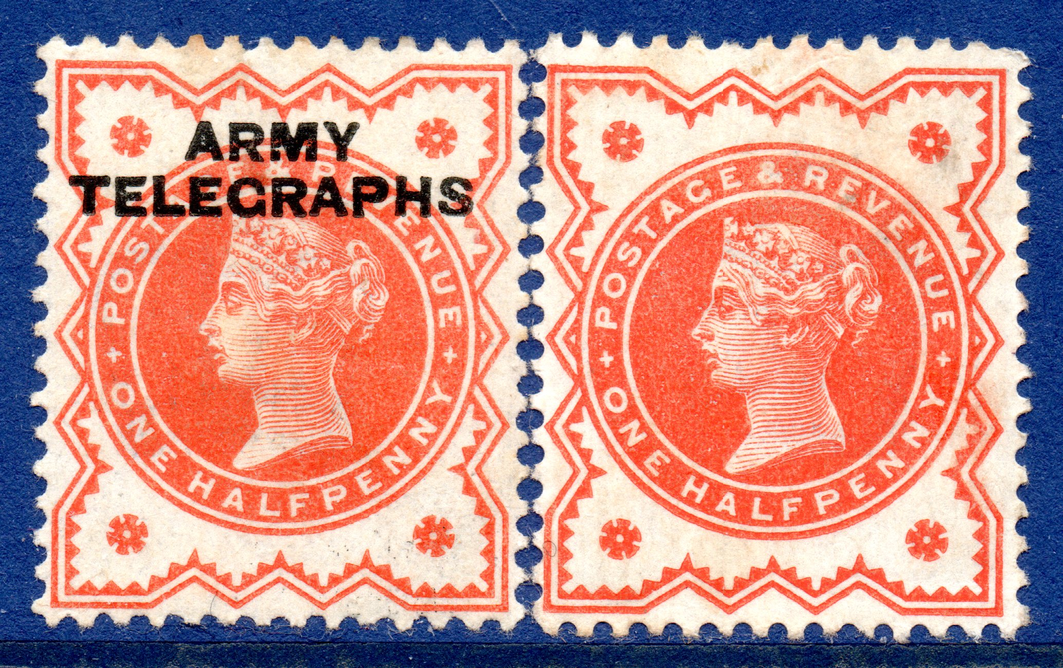 1895 ½d Vermilion ARMY TELEGRAPHS Mounted Mint c/w Ordinary ½d Vermilion MM