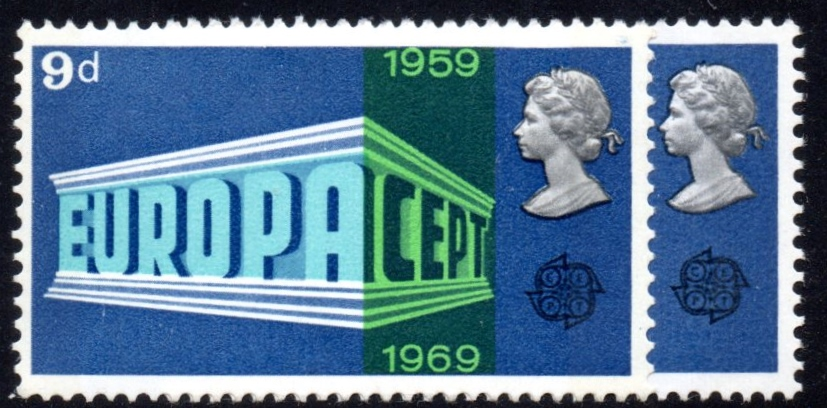 1969 9d Europa Unmounted Mint with Shift Variety
