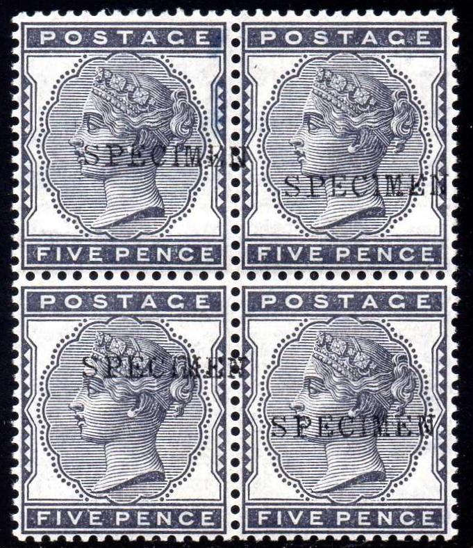 1880 5d Indigo Specimen BLOCK OF FOUR SG169s