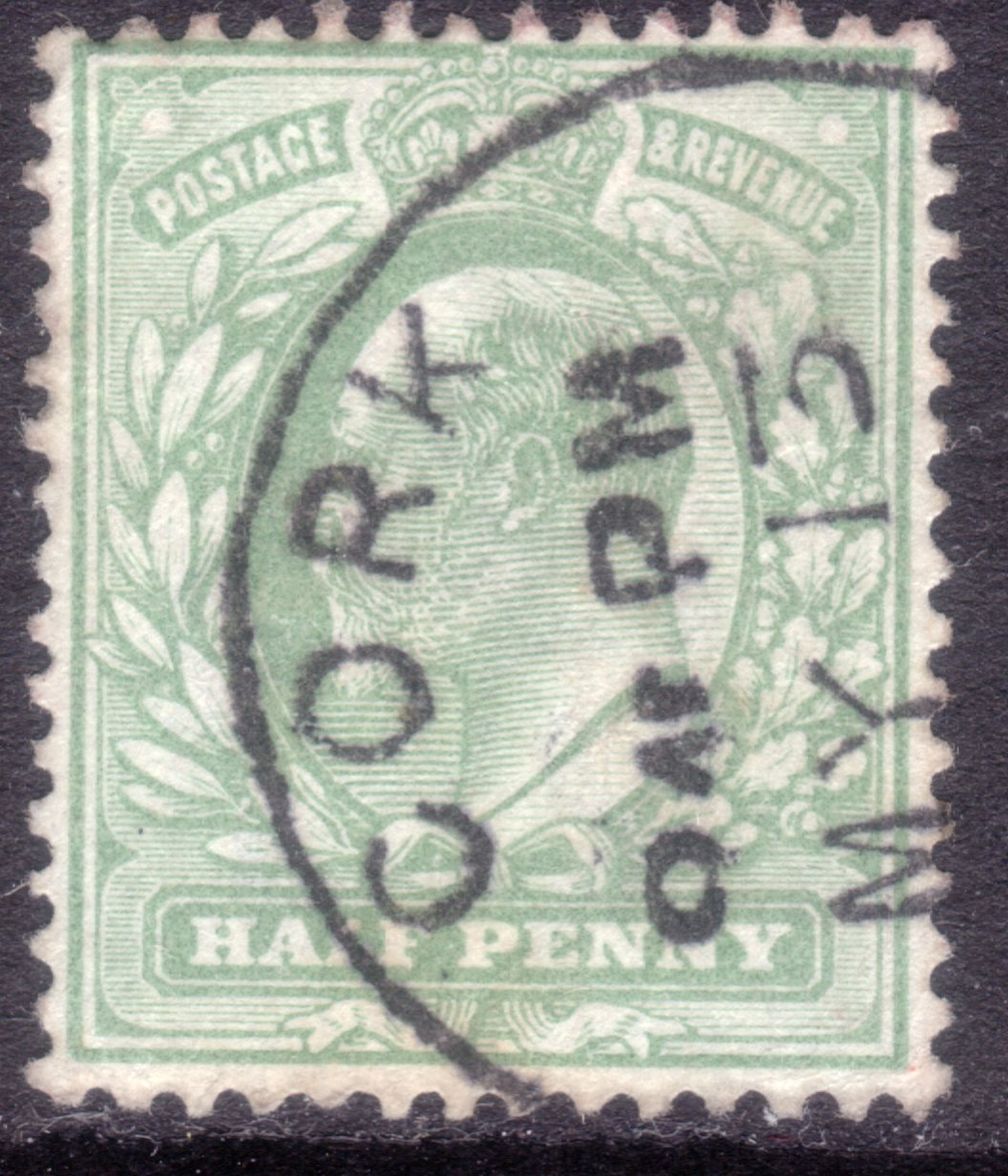 1904 ½d Pale Yellowish Green Neat Irish Skeleton Cancel