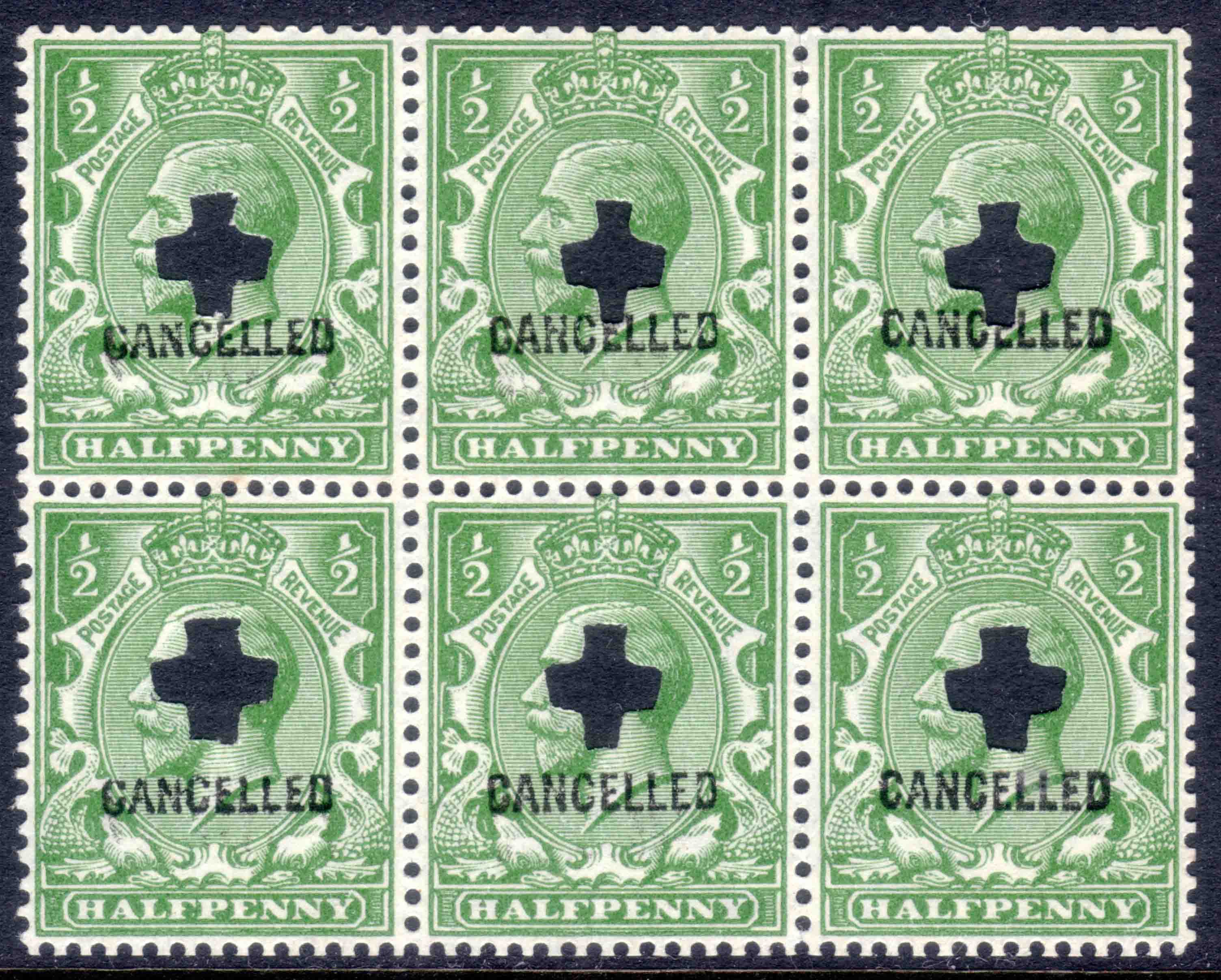 1924 ½d Bright Green CANCELLED Type 33P PANE of SIX