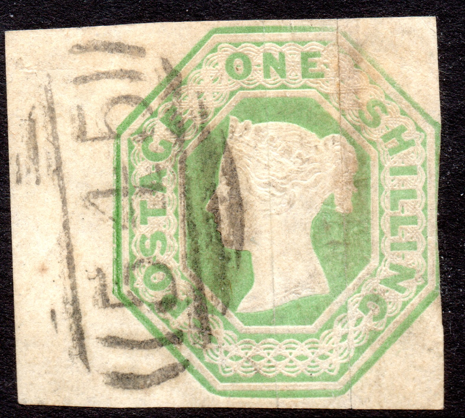 1854 1s Pale Green Embossed Massive Left Margin Neat '545' Newcastle Numeral