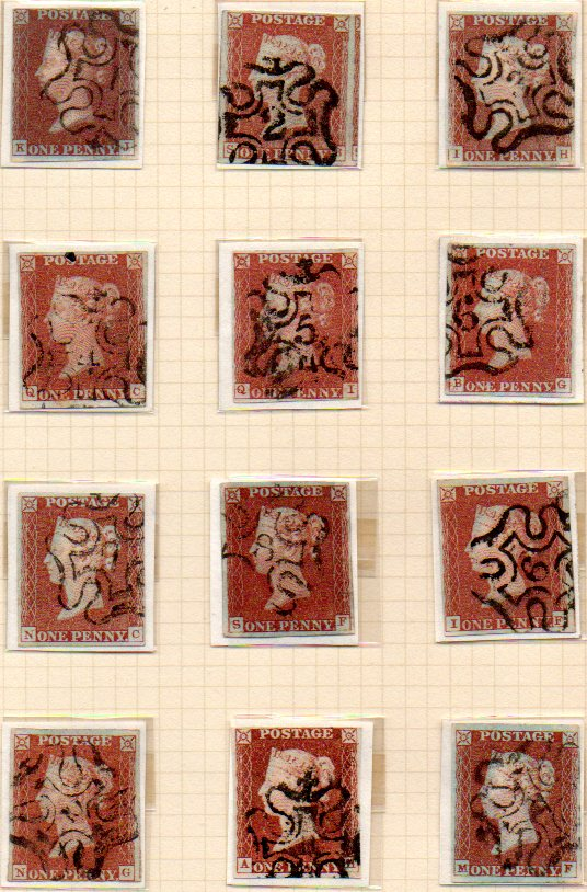 1841 1d Red Collection of Maltese Crosses Numbered 1 to 12