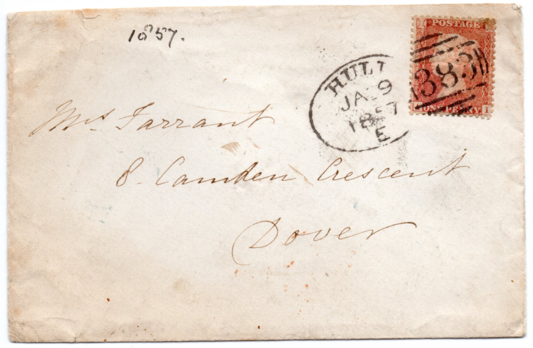 1857 (January) Transitional 1d Orange-brown Cover