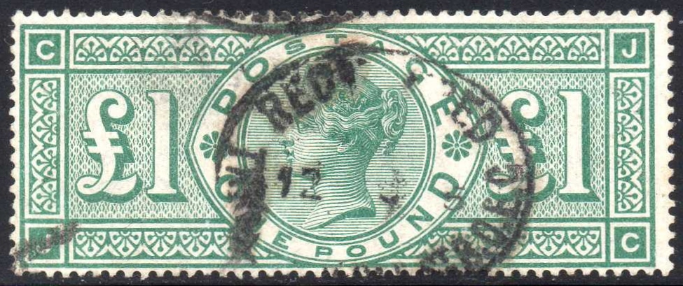 1891 £1 Green Plate 3 'JC' Frame Unbroken on Crowns Watermarked Paper