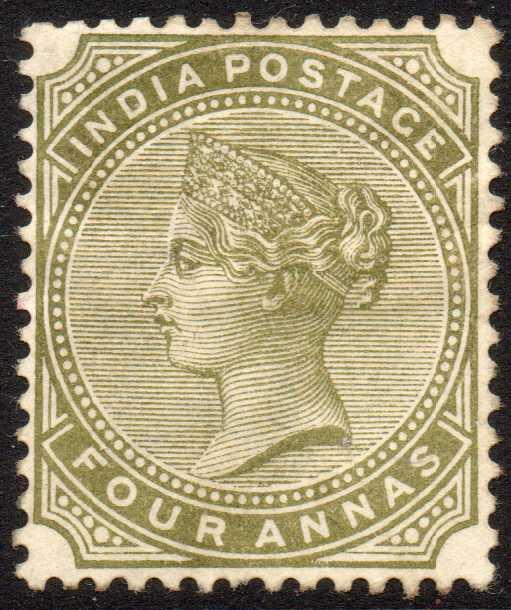 India 1885 4a Olive-green Fresh Unused