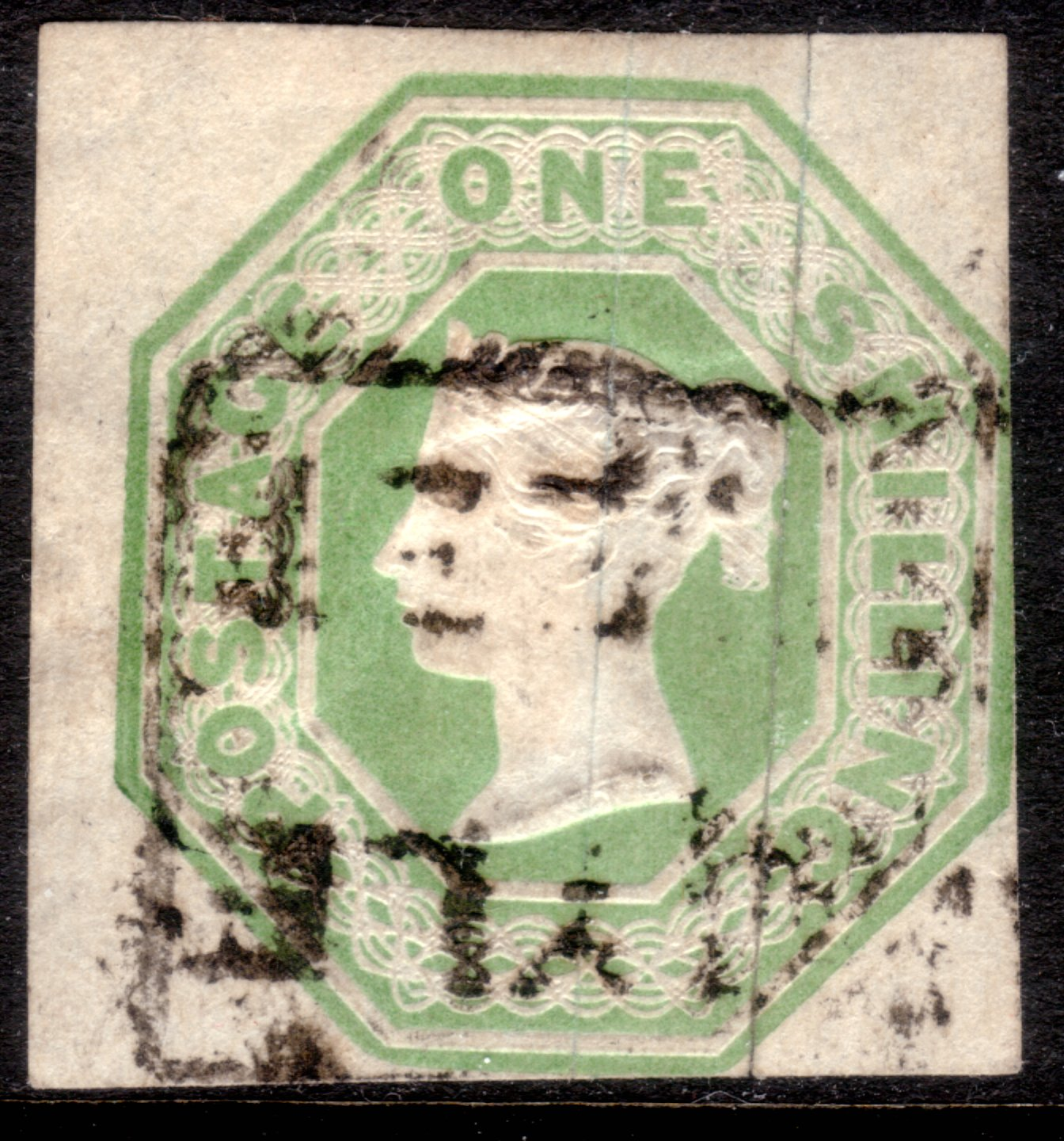1854 1s Green Embossed Scarce Argyle Street Boxed Cancel
