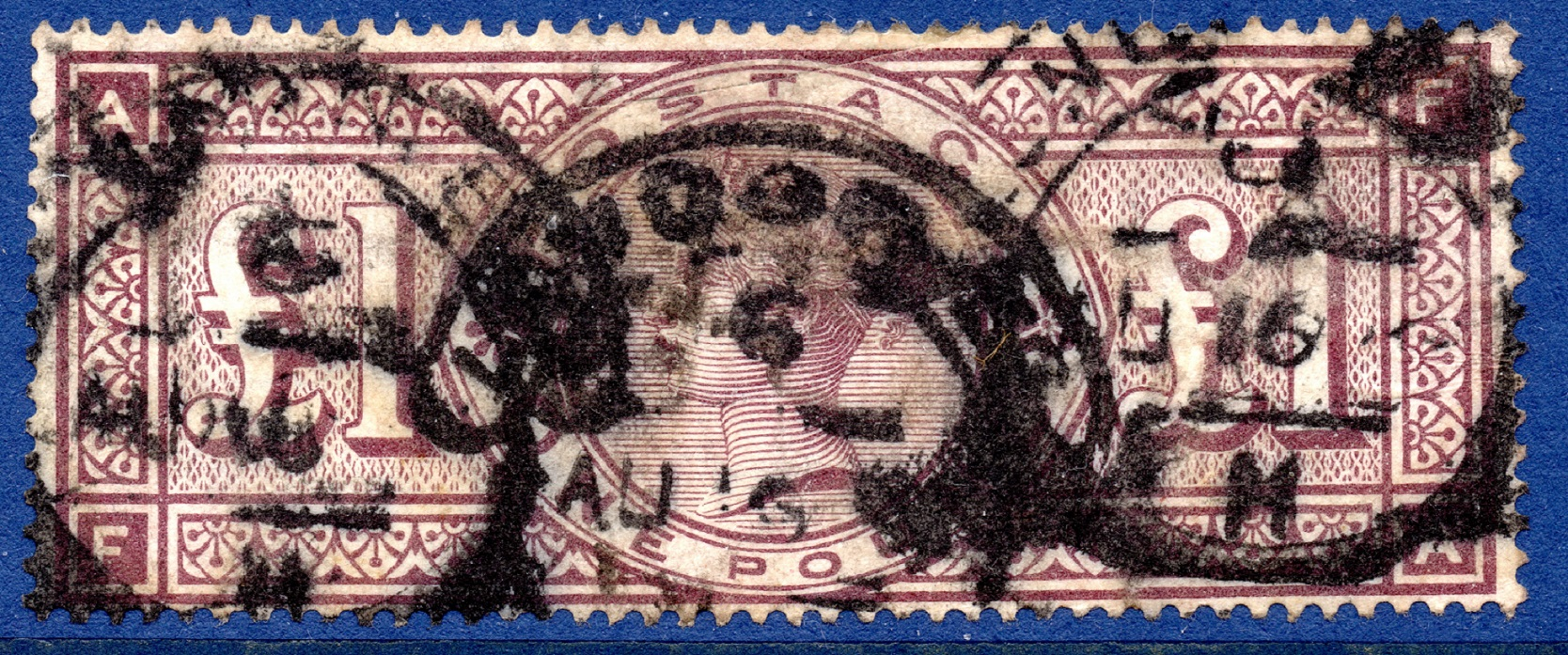 1888 £1 Brown-lilac on ORBS WATERMARK with Wonderful Original Colour. SG186 cat value £4250 - SOLD