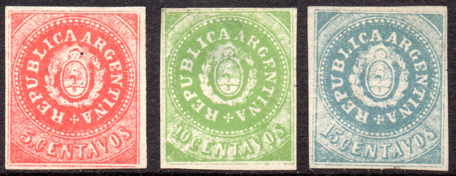 ARGENTINA 1862 Mint Imperforated Genuine Set of Three