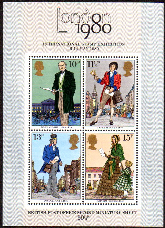 1980 Rowland Hill Miniature Sheet Superb Unmounted Mint Phosphor Omitted Variety