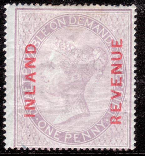 1860 1d Dull Red Lilac Overprinted INLAND REVENUE in RED