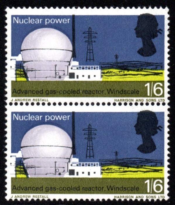 1966 1s6d UM Windscale Vertical Pair Excellent Black Shift