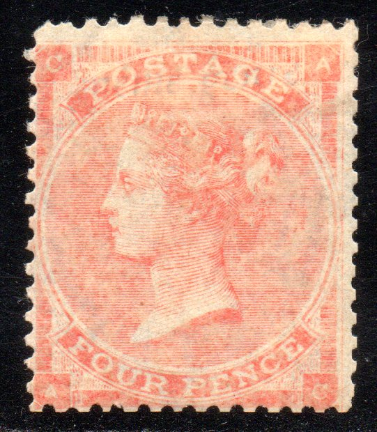 1863 4d Pale Red Plate 4 Fresh MINT SG82