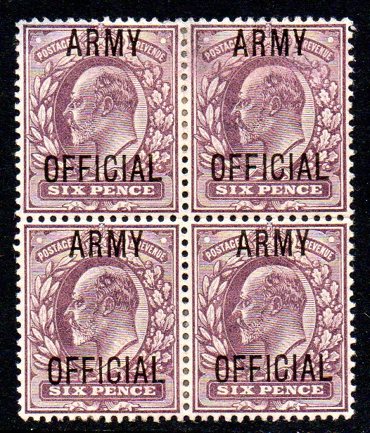 1902 6d ARMY OFFICIAL Mint Block of Four - SOLD