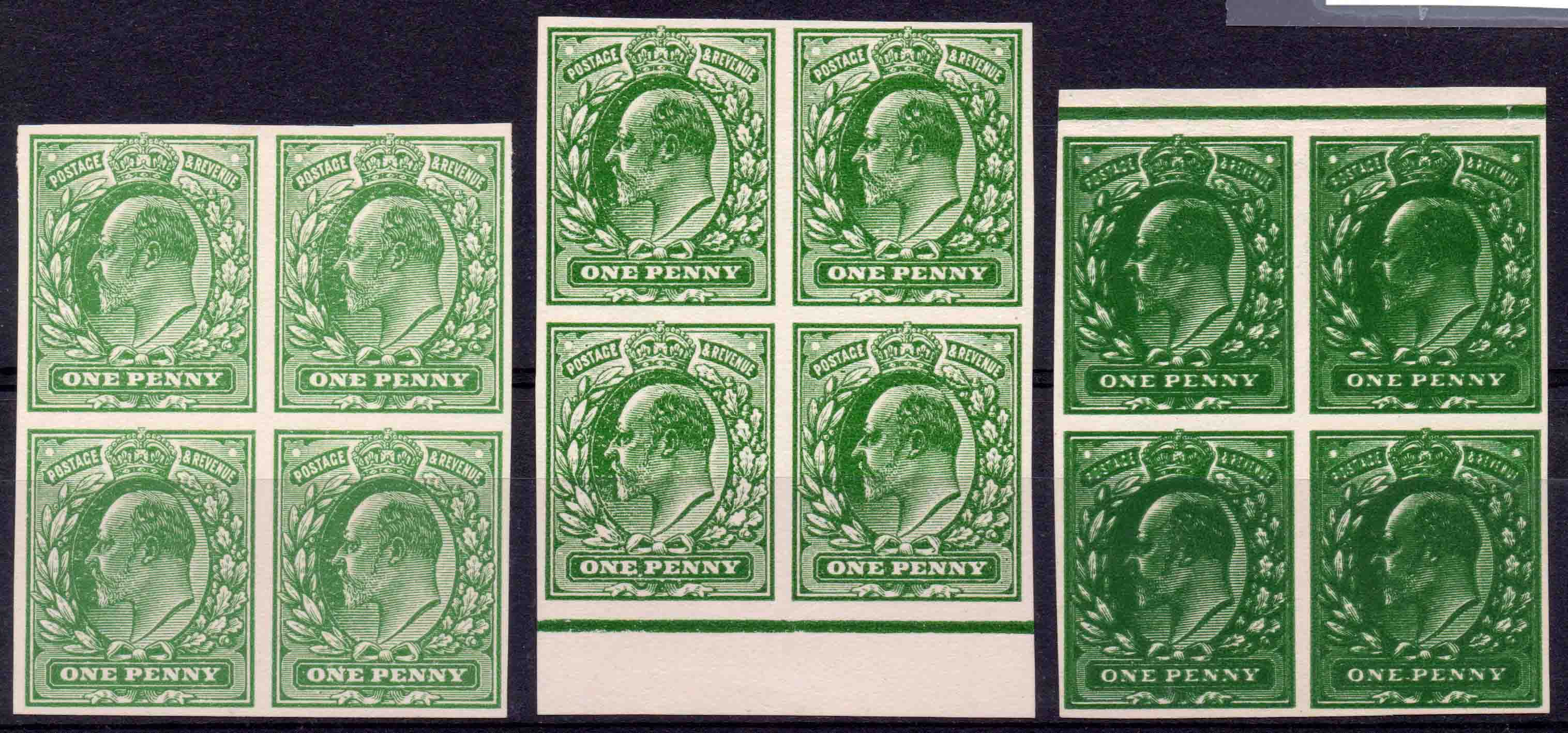 Edward VII 1d Plate Proof Imperf Blocks of Four (3)
