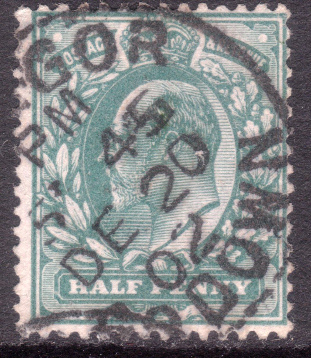 1902 ½d Blue-green Superb Bangor Co. Down CDS