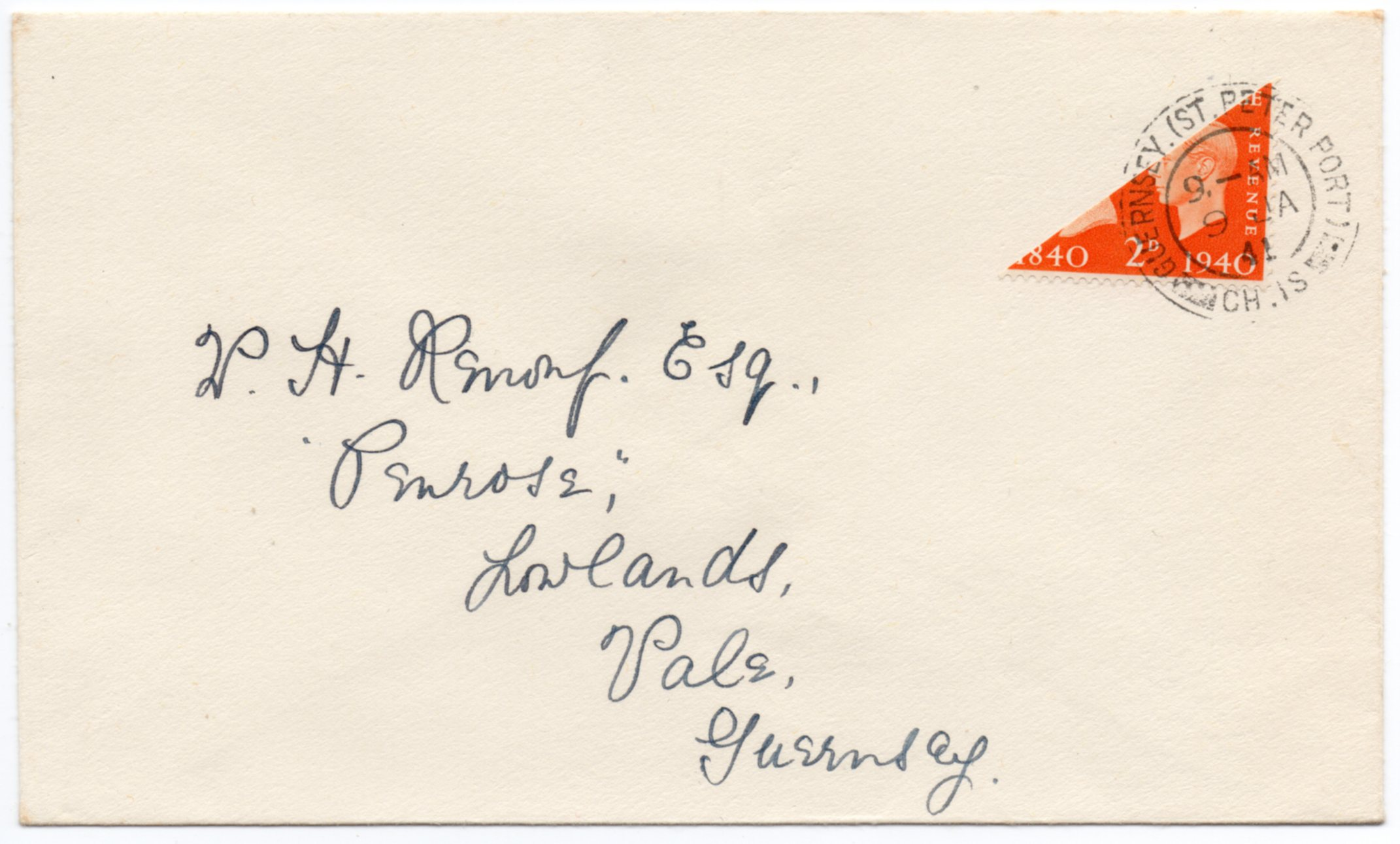1940 2d ORANGE CENTENARY BISECT ON ST.PETER PORT COVER