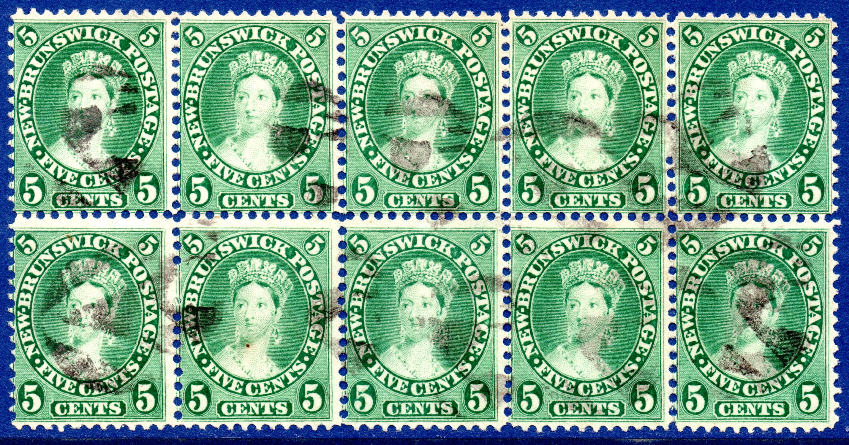 NEW BRUNSWICK 1860 5 Cents Deep Green SCARCE USED BLOCK OF TEN - PLUS BROKEN PERF PINS VARIETY SG15