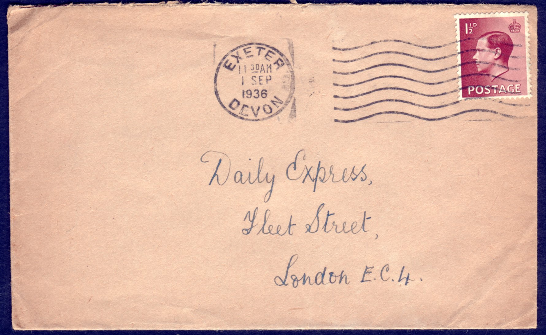 1½d on Exeter Devon FDC 1.9.1936