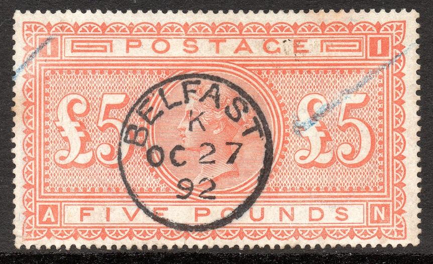 1882 £5 Orange Excellent Belfast CDS with Frame Break Anchor Wmk - SOLD