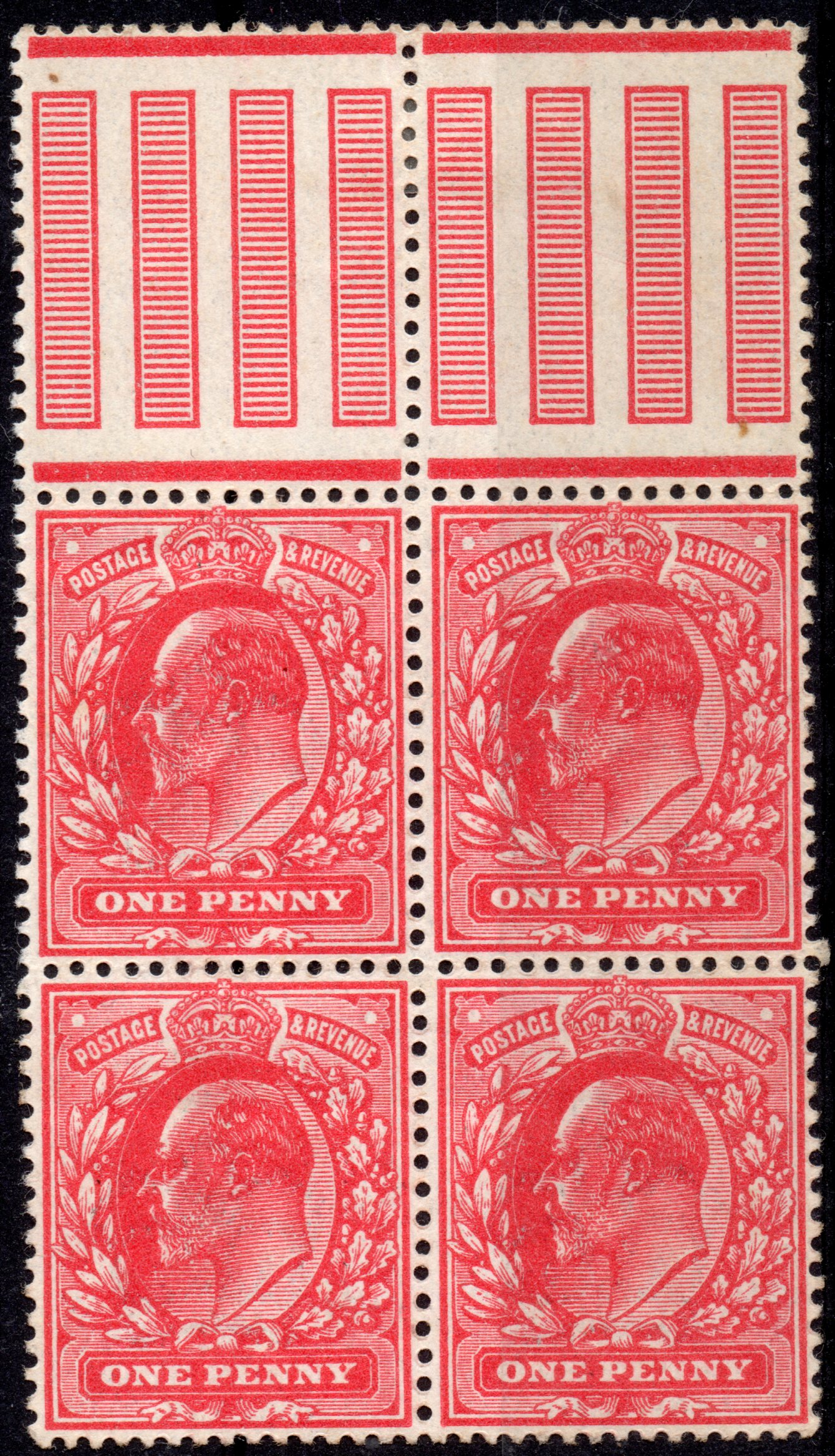 1911 1d Harrison Rose-red Perf 15 UM Gutter Block of Four