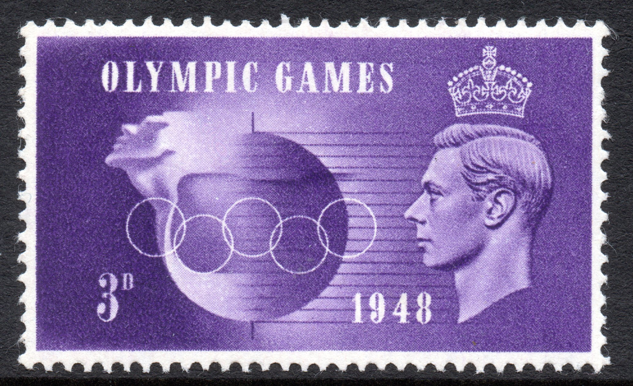 1948 3d OLYMPIC GAMES 'HOOKED 3' VARIETY FROM CYL.1 NO DOT R.19/2