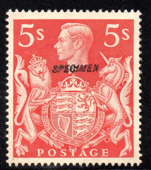 GVI 1939 5s Red SPECIMEN Type 23