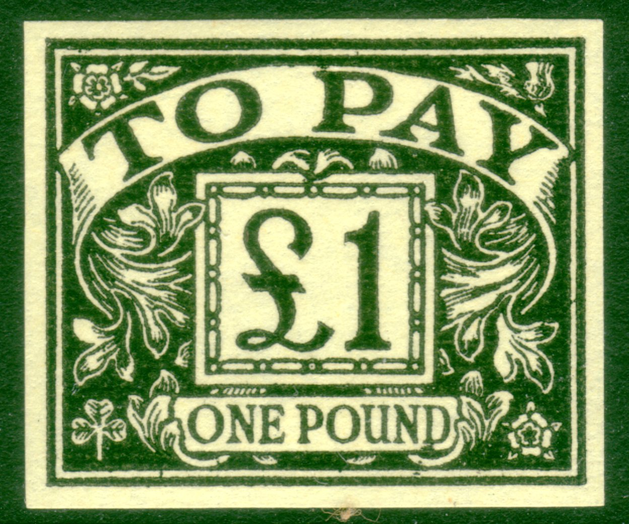 1963 £1 black on yellow superb UMM postage due imprimatur NPM archives.