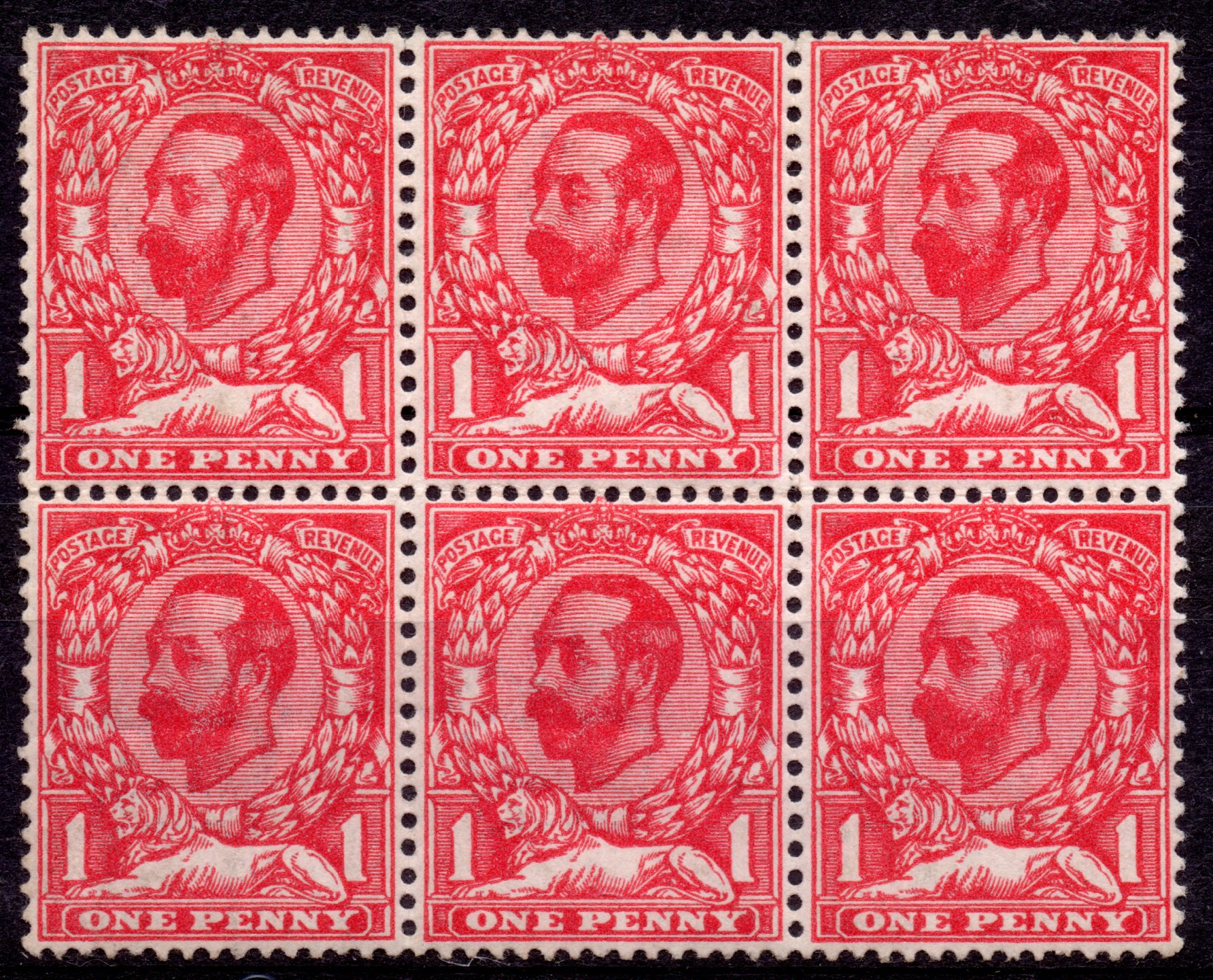 1911 1d Deep Carmine-red UM Block of Six with Crown Variety