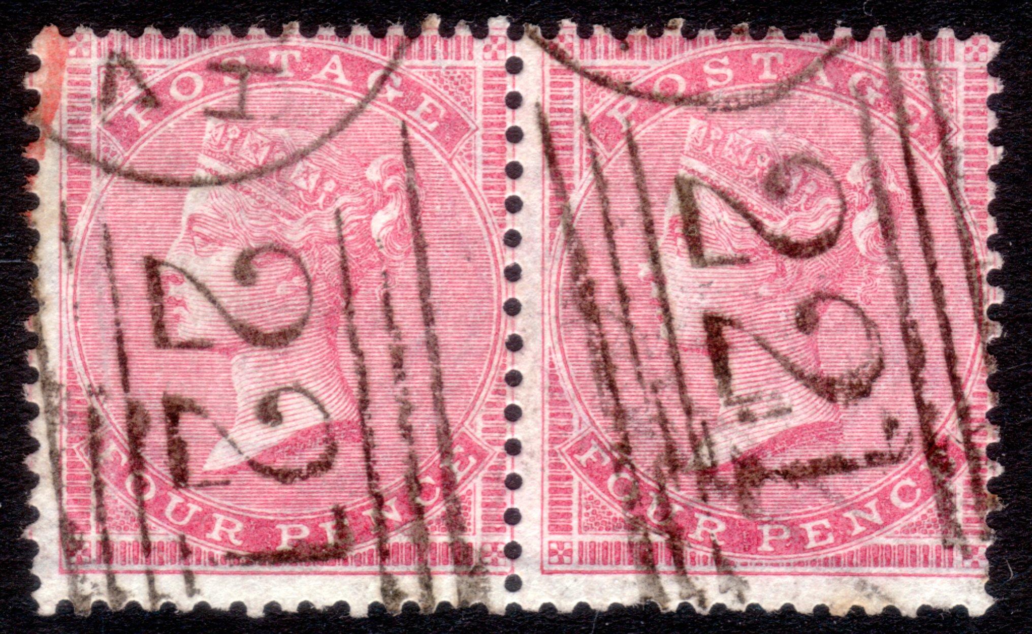 1857 4d Rose-carmine Pair Excellent colour