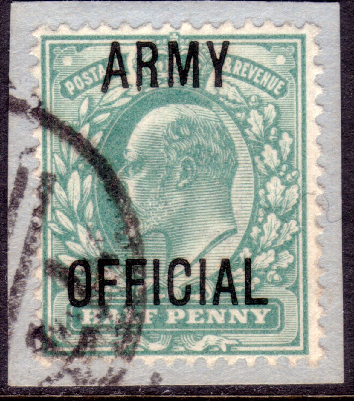 1902 ½d Blue-green Variety on Original Piece