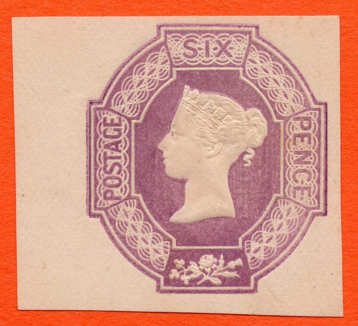 QV 6d Purple Embossed Stationery Excellent Colour Four Margins Without Date Cuts - SOLD