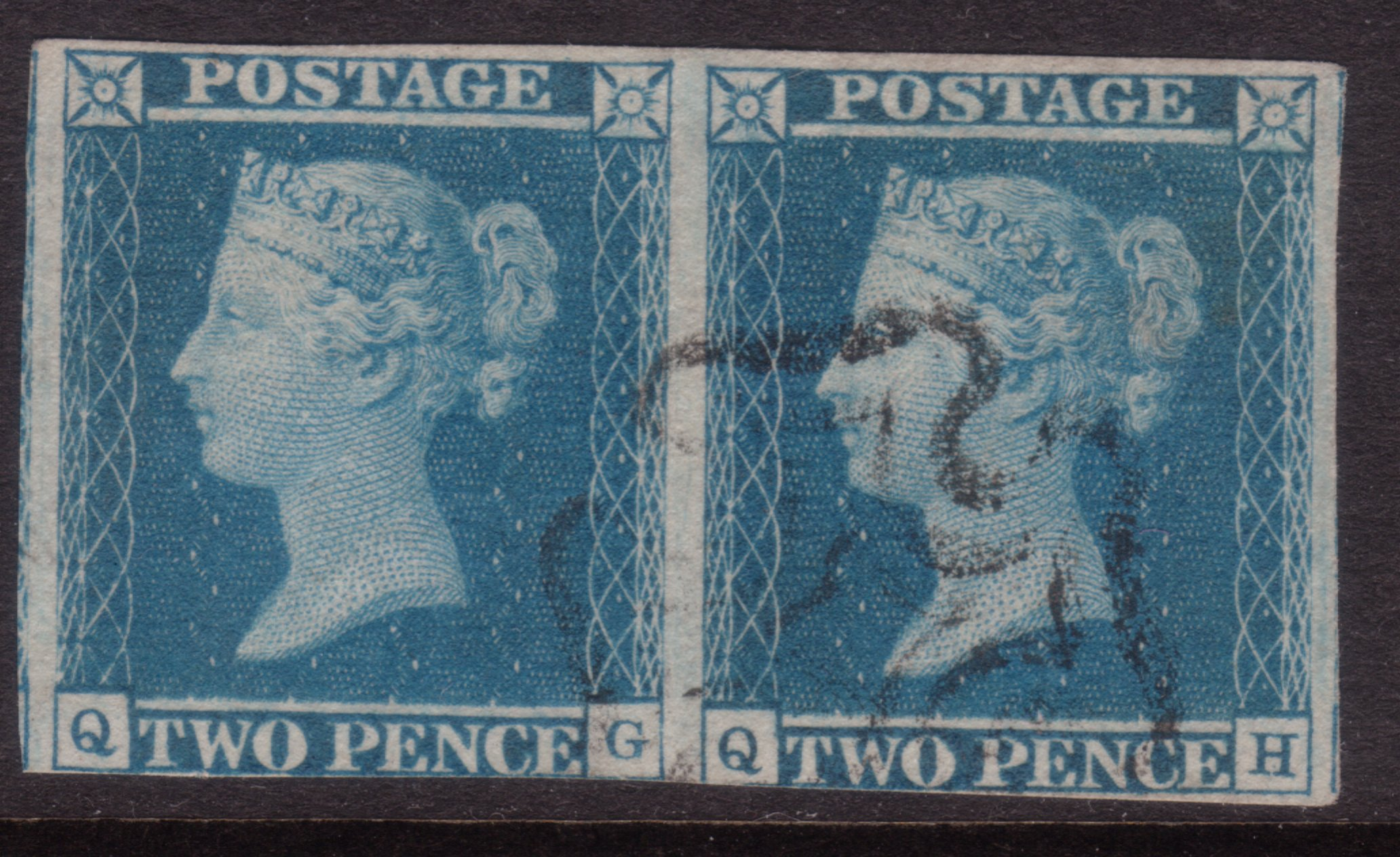 1841 2d Blue Plate 3 Cancel Contrary to Regulations - SOLD
