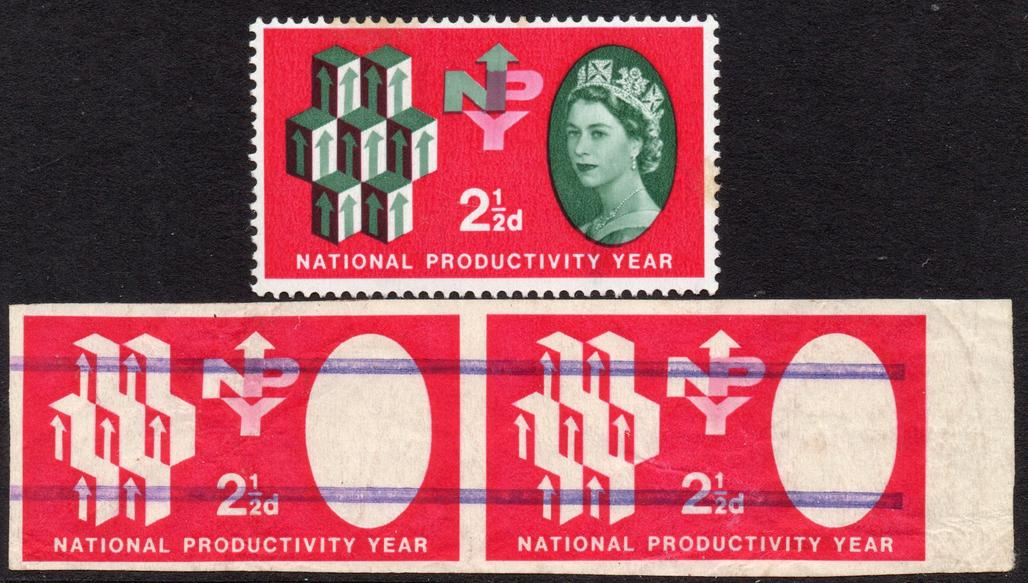 1962 NPY 2½d IMPERFORATE MARGINAL HORIZONTAL PAIR WITH MISSING GREEN C/W ISSUED STAMP - SOLD