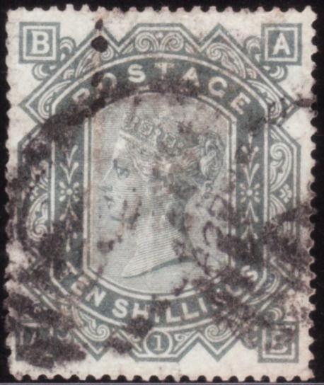 1883 10/- SG131 (Wmk. Anchor, Blued Paper) Lettered AB - SOLD