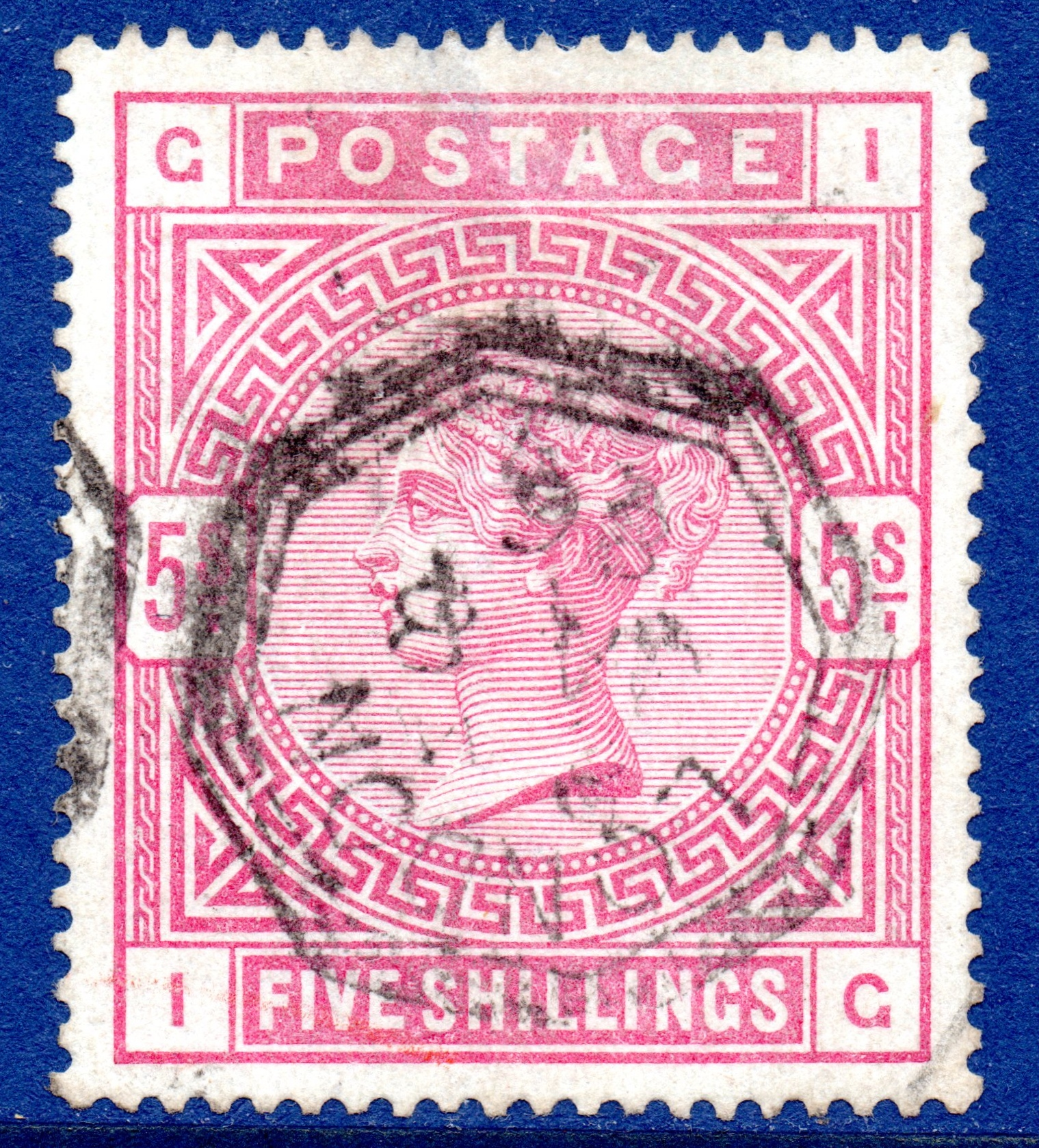 1884 5s Rose on BLUED PAPER on Anchor Watermark - SOLD